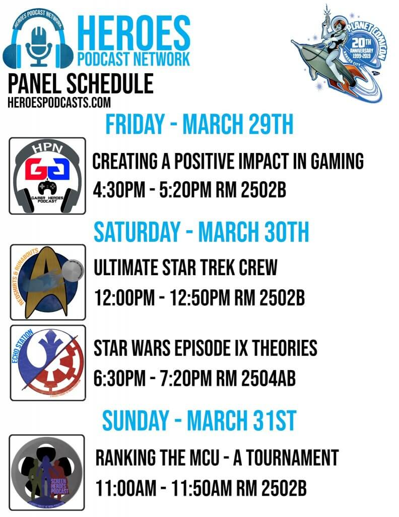 HPN Planet Comicon 2019 Panel Schedule